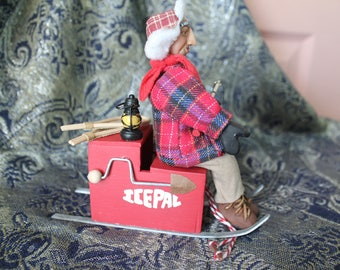 OOAK handsculpted miniature collector doll 1 1/2th scale Ice Fisherman senior citizen