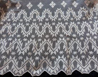 BIG linen handmade lace edging trim for priest surplice alb, hand made whitework lace by nuns, French religious antique church fabric lace