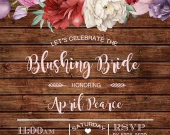 Bridal Shower Invitation, Rustic, Blushing Bride