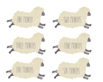 Sheep Milestone Stickers - Watercolor Clothing Decals