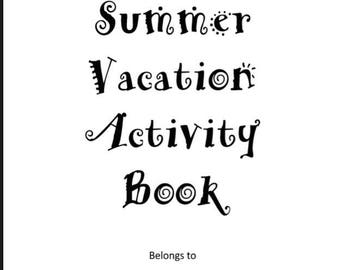Summer Vacation Activity Book, Road Trip Games, Kids Puzzle Book, Childrens Maze Book, Quiet Book, Kids Plane Ride, Kids Vacation, Game Book