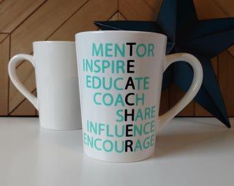 TEACHER Acrostic Coffee Mug // Coffee Mugs with Sayings // Personalized Ceramic Mugs // Tea Cup // Teacher Gift // Teacher Mug