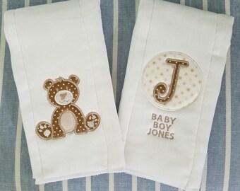 Bear Monogrammed Set of Burp Cloths!