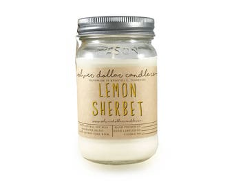 Lemon Sherbet 16oz Scented Candle - Strong Scent, soy candle, candles, Mason Jar Candles, boyfriend gift, gift for her, mom, gift for mom