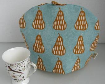 Orange pear and turquoise blue print tea cosy / cozy / cosie / cozie