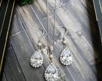 Bridal Jewelry Set, Wedding Jewelry Set, Bridal Jewelry, Teardrop Jewelry Set, Mother of the Bride Jewelry, Mother of the Groom Jewelry