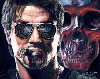 Sylvester Stallone Expendables Barney Ross art print 12x16 signed and dated Bill Pruitt