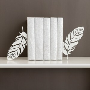 Book ends Boho decor Feather bookends Free spirit Metal bookends Home decor Book shelf decor Modern bookends - white