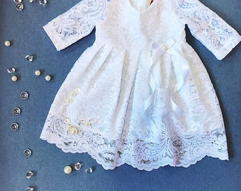 White baptismal dress, organic cotton christening dress, christening gown, lace baby girl's baptism gown, white church dress, blessing gown