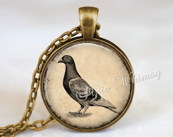 PIGEON Necklace, Pigeon Pendant, Pigeon Keychain, Pigeon Jewelry, Bird Pendant, Bird Necklace, Bird Jewelry, Sepia Print, Nature Necklace