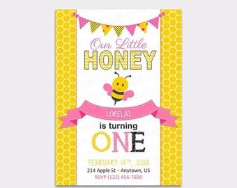 JUNE SALE Little Honey Bee Printable Birthday Invitation (Yellow Honeycomb 1st First Birthday Girl) - Digital File