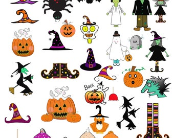 Halloween clipart, halloween doodles, pumpkin clipart, hand drawn, instant download, witch and ghost, whimsical clipart, commercial use