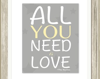 All you need is love, baby girl nursery art, baby boy nursery art, kids wall art, grey yellow nursery, modern nursery decor, custom colors