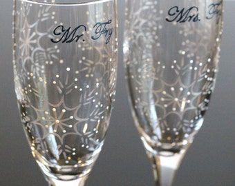Snowflake Champagne Glasses, Toasting Flutes, Winter Wedding, Mr. Mrs., Bride Groom, Personalized Dated, Painted, Silver, White, Marine Blue