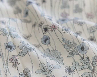 Poppy Cotton Fabric, Blue Flowers Fabric - Blue White - 59 Inches Wide - By the Yard 82208