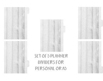Filofax, Kikki-k Dividers. Set of 5 tabbed planner dividers for Personal or A5 sized planners. Side or Top Tabs Laminated. Wood dividers 178