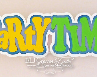 Premade Paper Piece Title Die Cut for Scrapbook Page Birthday Boy Girl Party Time Handmade 3