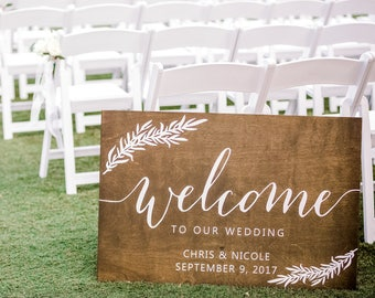 Welcome Sign Entry, Welcome sign wood wedding, Rustic Welcome Sign Wedding, Welcome Sign at Wedding, Welcome Sign Cursive, wedding board