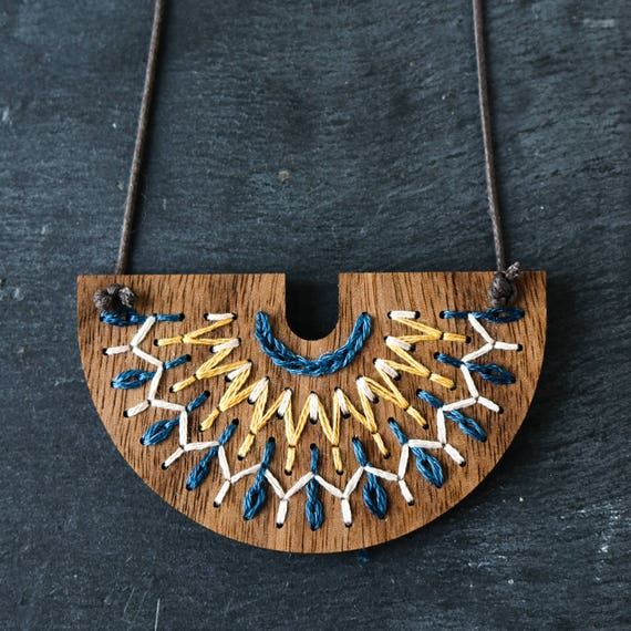 Diy embroidery kit hand stitched wood necklace modern