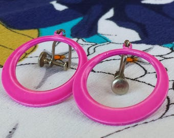 Groovy Vintage 1960's Neon Pink Magenta Large Metal Dangle Hoops Silver Pierced Look Screw Back Earrings
