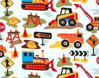 """Michael Miller Dig It- White ~ trucks bulldozers construction ~26 X 44 """" Large Remnant"""