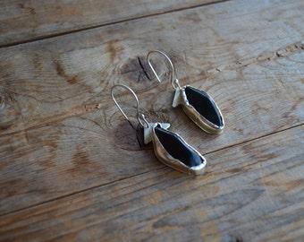 Black Jade Asymmetrical Earrings