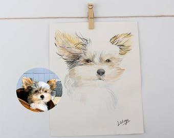 Watercolor pet portrait, Watercolor pets portrait, Pet Illustration, Cat Portrait, Dog Portrait, Pet Watercolur, Pet Owner Gift, Couple Gift