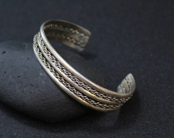 Sterling Silver Twisted Rope Chain Cuff Bracelet