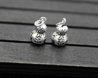 2 sterling silver gourd pendant, sterling silver gourd charm,hollow gourd pendant
