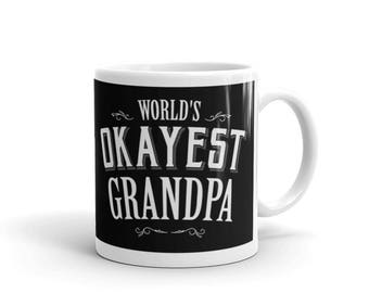World's Okayest Grandpa Coffee Mug, grandparents mugs, grandparent gift, grandparent mugs, mug for grandpa, best grandpa, grandparent mug