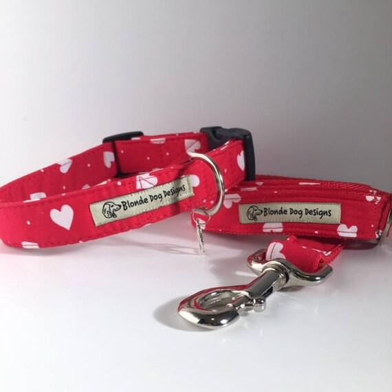 Loveheart Dog Collar, & Loveheart Dog Lead, Sale Collar and Lead, Lush Love Heart,  Dog Collar and Lead Set