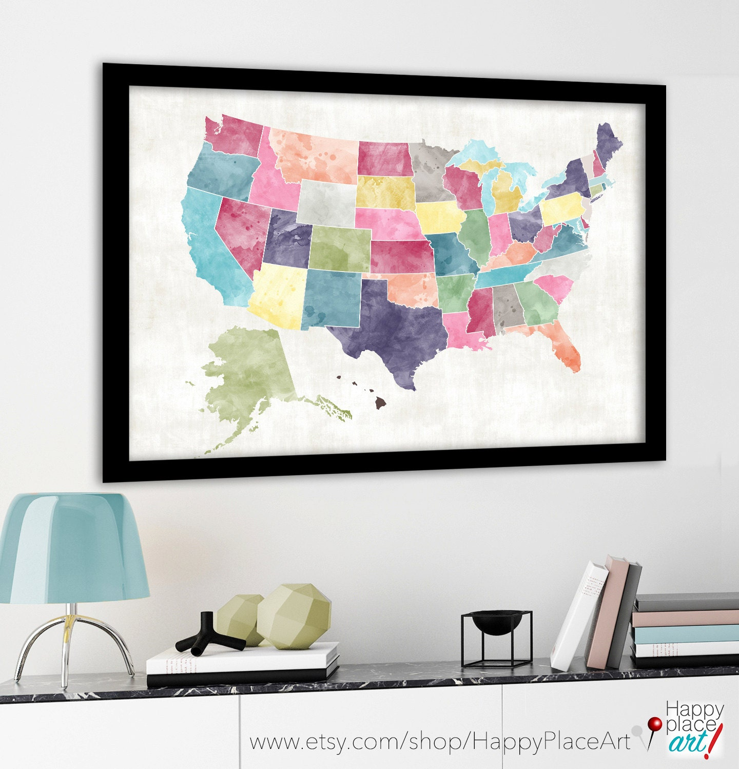 Large USA Map Heart Map Bright Watercolor Style Custom