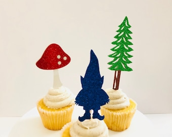 Gnome Cupcake Toppers set of 12 / Gnome Birthday Party/ Fairy Birthday/ Woodland Birthday