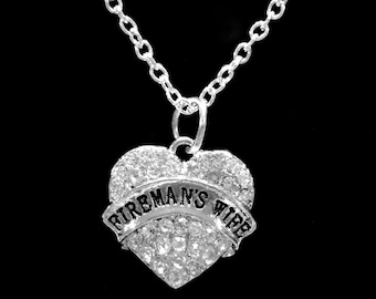 Fireman's Wife Necklace, Crystal Heart Fire Wife Gift For Firefighter Charm Necklace