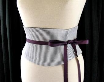 Seersucker Corset / Gray and White Striped Waist Cincher / Wedding Corset / Wedding Sash / Corset Belt / Tight Lacing / Plus Size Corset