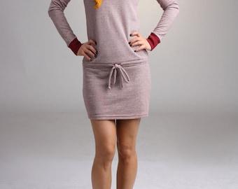 Drop Waist T Shirt Dress, Winter Dress, Tie Waist Dress, Sweatshirt Mini Dress, Tunic Dress, Striped Dress / Handmade Dress - Red Stripe