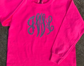YOUTH Comfort Colors Long Sleeve Shirt With Jumbo Vinyl Monogram