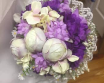 Bridal bouquet purple and white flowers made usa  020