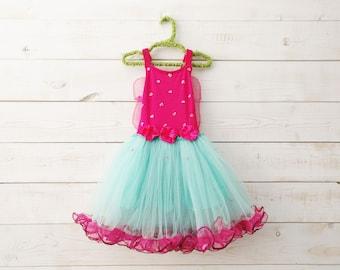 Wings + Ruffle Pink and Aqua Tutu Dress, Fairy Dress, Butterfly Dress, Flower Girl, Ballet Costume, Floral Dress, Wedding, Flower Girl Dress