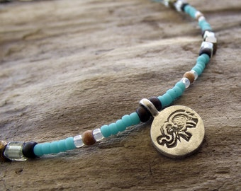 Beaded Anklet - Silver Elephant Charm - Aqua Blue, Raisin, White, Brass Beads - Sandalwood Beads - Boho Jewelry