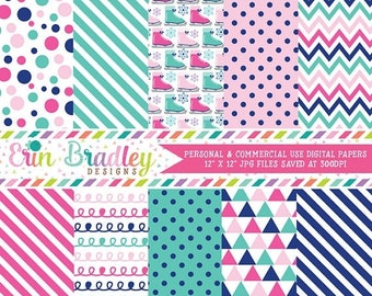 80% OFF SALE Ice Skating Digital Papers, Winter Digital Paper Pack, Pink & Blue Patterns with Chevron Stripes Polka Dots Triangles Doodles