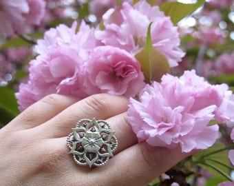 Flower Mandala Ring/ Sterling Silver Mandala Ring/ Sacred Geometry Ring/ Mandala Statement Ring/ Flower Statement Ring/ Sterling Silver Ring