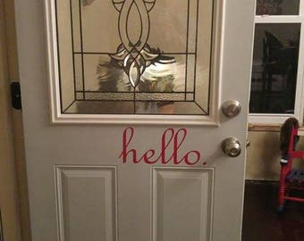 Hello decal for entrance doors