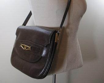 Vintage Brown Leather Shoulder Bag Leather Purse Brown Leather Handbag Genuine Leather Purse Vintage Brown Purse Brown Leather Shoulder Bag