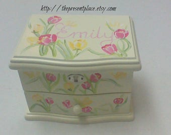personalized hand painted jewelry box,pink butterflies,tulips,yellow, girl's jewelry box,musical ballerina jewelry box ,kids jewelry box