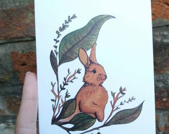 Rabbit with leaves blank card