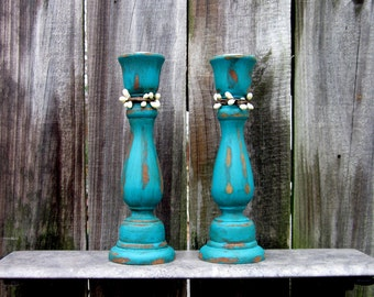 Candle Sticks, Aqua, Taper Candle Holders, Set of Two, Distressed, Wooden, Pair, Cottage Chic, Painted Wood, Pip Berries