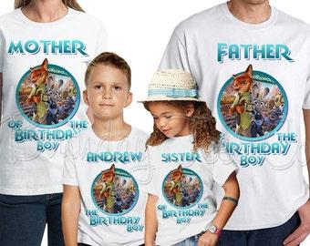 Zootopia Birthday Shirt Add Name & Age Zootopia Custom Birthday Party TShirt