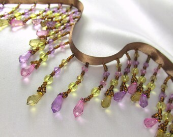 Spring Rose Pink, Light Violet Purple and Yellow Gold Faceted Teardrop Medium Beaded Fringe Decorator Trim