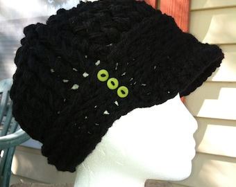 Black Crocheted ribbed newsboy hat with thick band